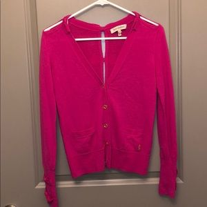 Juicy Couture pink bow button up top